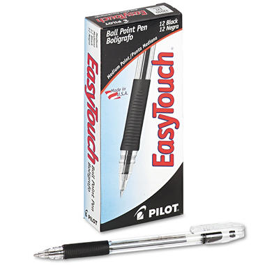 Pilot - EasyTouch Ballpoint Stick Pen, Black Ink, Medium - 12 Pens