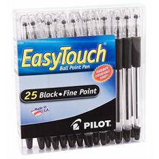 Pilot - EasyTouch Ballpoint Stick Pen, Black Ink, Fine - 25 Pens