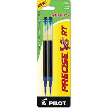 Pilot - Refill for Precise V5 RT Rolling Ball, Extra Fine, Blue Ink - 2 Pack