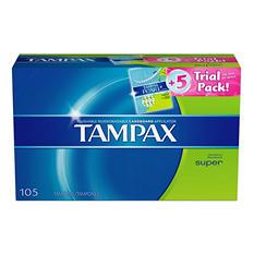 Tampax Tampons, Super (100 ct.) + 5 ct. Tampax Pearl Trial Pack