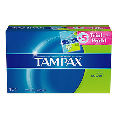 Tampax Tampons - Regular  - 100 ct. + 5 ct. Tampax Pearl Trial Pack