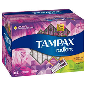 Tampax Radiant Duopack Tampons, Regular/Super (84 ct.)