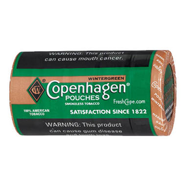 Copenhagen Wintergreen Pouches - .82 oz. - 5 cans