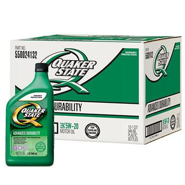 Quaker State 5W-20 Motor Oil - 1 Quart Bottles - 12 Pack