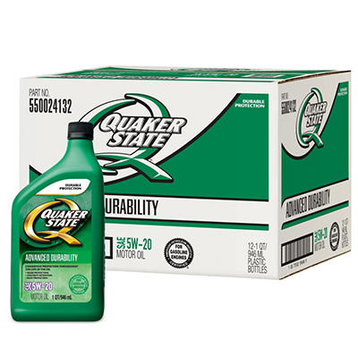 Quaker State 5W-20 Motor Oil - 1 Quart Bottles - 12 Pack