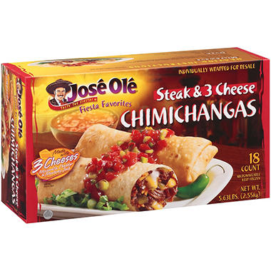 Jos� Ol� Steak & 3 Cheese Chimichangas - 18 ct.