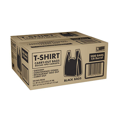 Black T-Shirt Carryout Bags - 1000 ct.