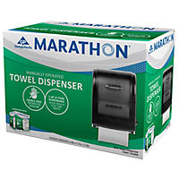 Marathon Manual Roll Towel Dispenser, 350 Ft. Capacity (Smoke)