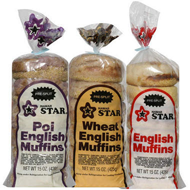 Hawaii Star® English Muffin Variety - 15.oz - 3 ct.