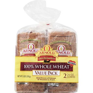 Arnold 100% Whole Wheat Bread - 24 oz. - 2 ct.