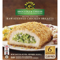 Barber Foods Breaded Raw Stuffed Chicken Breasts, Broccoli and Cheese (6 pk.)