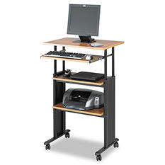 Safco Adjustable Height Stand-Up Workstation, Oak