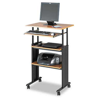 Safco - Adjustable Height Stand-Up Workstation - Oak