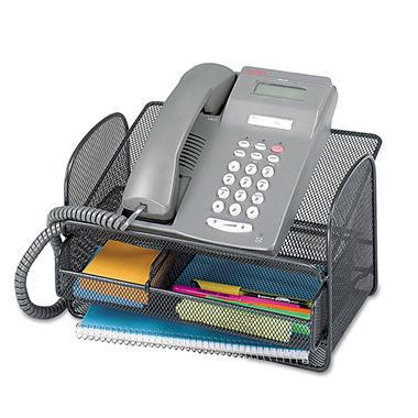 Safco - Onyx Angled Mesh Steel Telephone Stand, 11 3/4 x 9 1/4 x 7 - Black