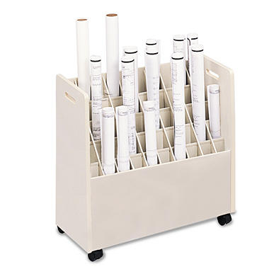 Safco 50-Compartment Mobile Roll File Cart