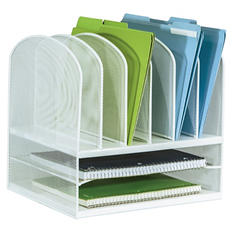 Safco Onyx Mesh Desk Organizer, 2 Horizontal and 6 Vertical Sections, White