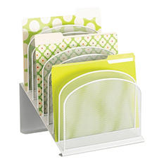 Safco Onyx Mesh Desk Organizer, 8-Tiered Sections, White