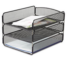 Safco - Desk Tray, 3 Tiers, Steel Mesh, Letter - Black