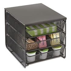 """Safco 3 Drawer Hospitality Organizer, 7 Compartments, 8 1/2""""w x 11 1/4""""d x 8 1/2""""h"""