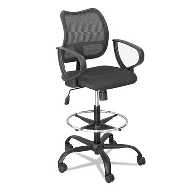 Safco - Vue Series Mesh Extended Height Chair, Acrylic Fabric Seat - Black