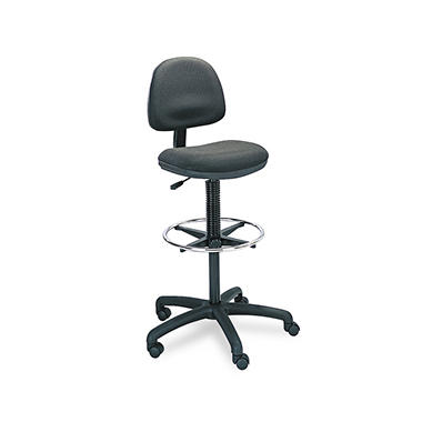 Safco Precision Extended Height Swivel Stool with Adjustable Footring, Black