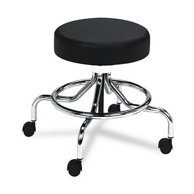 "Safco - Screw Lift Stool w/Low Base, 17-25"" Height-Adjustable - Chrome/Black"