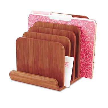 "Safco Bamboo Wood Organizer - Five Sections - 8"" x 10"" x 9"" - Cherry"