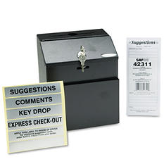 Safco Steel Suggestion/Key Drop Box with Locking Top, Black