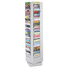 Safco Steel Rotary Magazine Rack, Gray