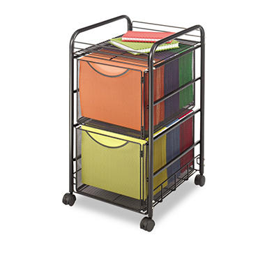 Safco Onyx Mesh Mobile Double File Cart, Black