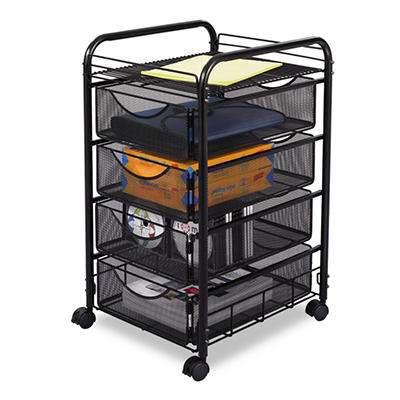Safco - Onyx Mesh Mobile File With Four Supply Drawers, 15-3/4w x 17d x 27h -  Black