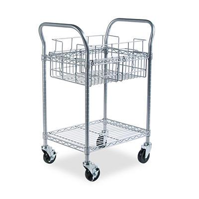 Safco - Wire Mail Cart, 600-lb Cap, 18-3/4w x 26-3/4d x 38-1/2h -  Metallic Gray