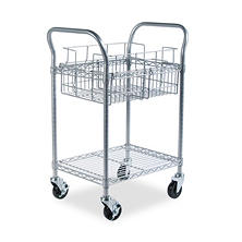 Safco Wire Mail Cart, Metallic Gray