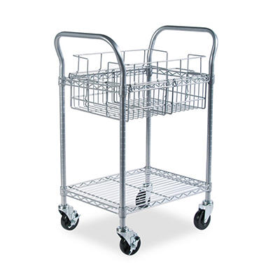 Safco - Wire Mail Cart, 600-lb Cap, 18-3/4w x 26-3/4d x 38-1/2h -  Metallic Gray