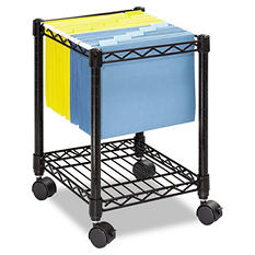 Safco One Shelf Mobile Wire File Cart, Black
