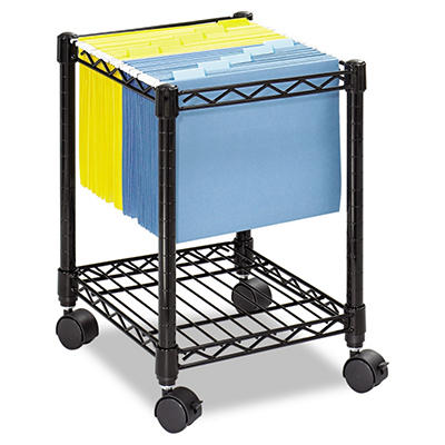 Safco - Compact Mobile Wire File Cart, One-Shelf, 15-1/2w x 14d x 19-3/4h -  Black
