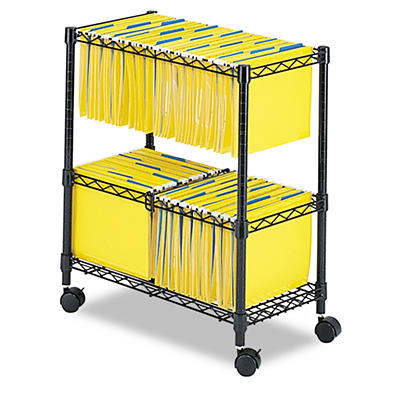 """Safco - Two-Tier Rolling File Cart, Letter/Legal, 14"""" - Black"""