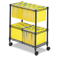 "Safco - Two-Tier Rolling File Cart, Letter/Legal, 14"" - Black"