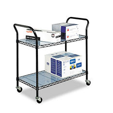 Safco 2-Shelf Wire Utility Cart, Black
