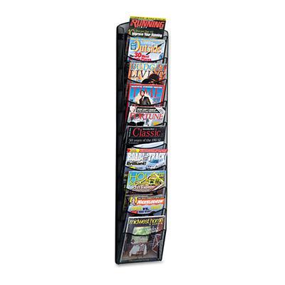 Safco Mesh Literature Rack, 10 Compartments, 10-1/4w x 3-1/2d x 50-3/4h, Black