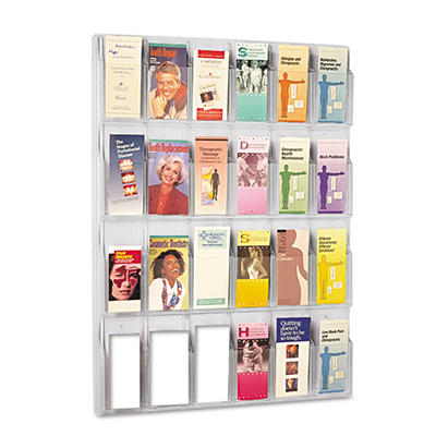 Safco Reveal Clear Literature Displays, 24 Compartments, 30w x 2d x 41h, Clear