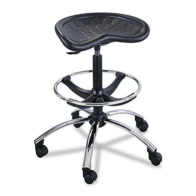 Safco - Diesel Industrial Stool w/Back, High Base - Black Leather Seat/Back Pad
