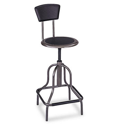 Safco - Diesel Backless Industrial Stool, High Base - Black Leather Seat