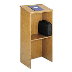 Safco® Stand Up Lectern, Medium Oak