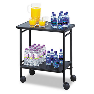 Safco� Fold-Away 2-Shelf Beverage Cart - Black