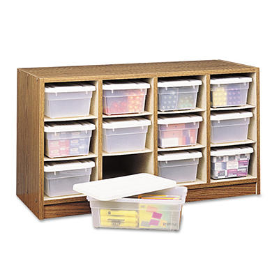 Safco - Modular Wood/Plastic 12 Bin Supplies Organizer, 34 x 13 x 19 -  Medium Oak/Clear
