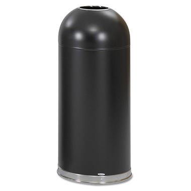 Safco Open-Top Dome Trash Can, Black (15 gal)