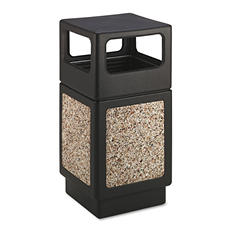 Safco Canmeleon Square Trash Receptacle, Aggregate/Black (38 gal)