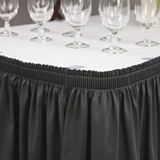 "Riegel Polyester Shirred Table Skirting - 30"" x 72"" x 29"" - Black"