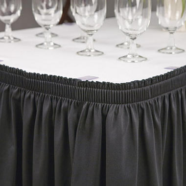 "Riegel Polyester Shirred Skirting - 30"" x 96"" x 29"" - Black or White"